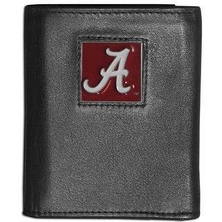 Alabama Crimson Tide Leather Tri-fold Black Wallet Men's Trifold