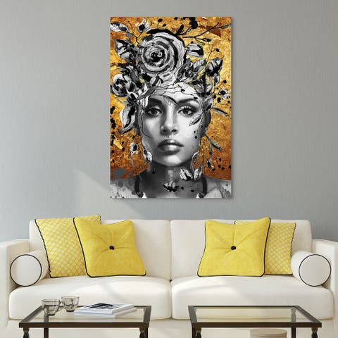 """""""Beautiful Woman & Flowers"""" Frameless Free Floating Tempered Glass Panel Graphic Wall Art 32 in. x 48 in."""