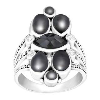 Sajen Hematite Doublet Ring with White Topaz in Sterling Silver - Black