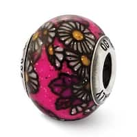 Italian Sterling Silver Reflections Pink Floral Decorative Overlay Glass Be (4mm Diameter Hole)