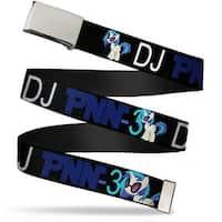 Blank Chrome Buckle DJ Pon 3 Pose Black Blue White Webbing Web Belt