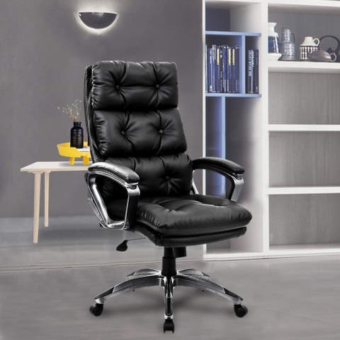 Adjustable Tufted Swivel Executive Office Chair Triple Back Button