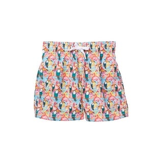 Azul Little Boys Multi Color Toucans Flamingos Print Drawstring Swim Shorts