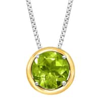 2 ct Natural Peridot Pendant in Sterling Silver & 14K Gold