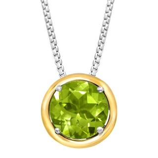 2 ct Natural Peridot Pendant in Sterling Silver & 14K Gold - Green