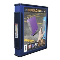 Storex Dura Grip Rubber Edge Heavy Duty D-Ring View Binder, 1 in, Blue/Dark Blue