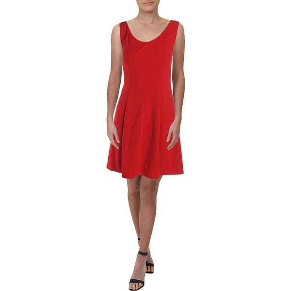 Signature By Robbie Bee Womens Wear to Work Dress Crepe Sleeveless - Red - 2. Opens flyout.