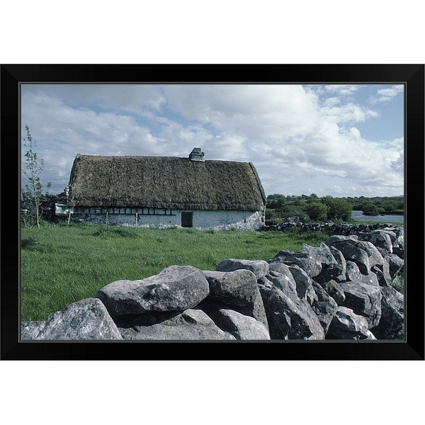 """""""House in countryside, County Clare, Ireland"""" Black Framed Print"""