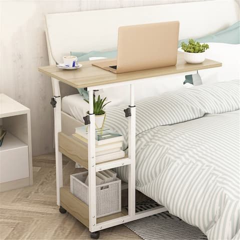 """Height Adjustable Mobile Laptop Stand Desk Rolling Cart Mobile End Table - 31""""X15""""X25"""