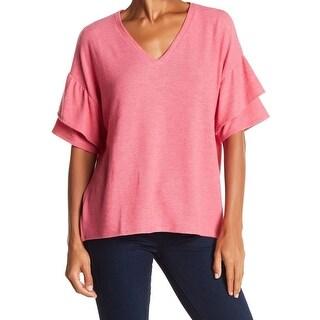 H by Bordeaux Pink Women Size Medium M V-Neck Ruffle Sleeve Knit Top