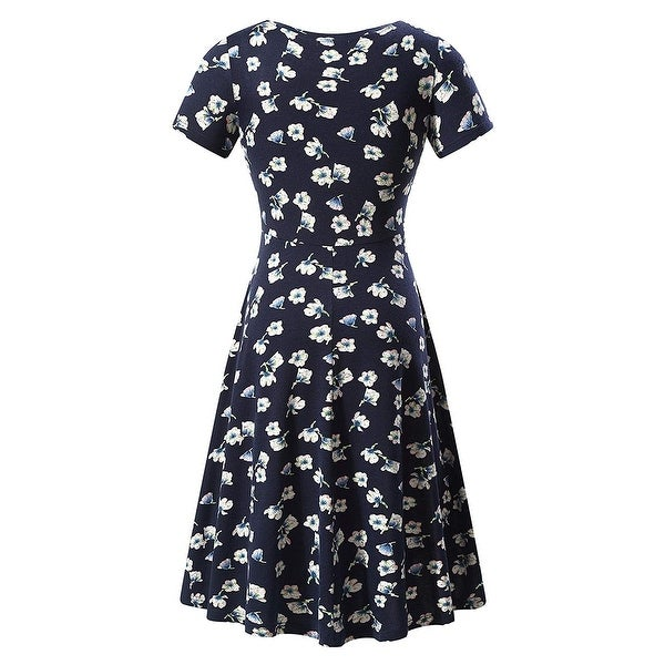 4ed1ae26b19e Shop Huhot Navy Blue Women's Large L Floral Short Sleeve A-Line Dress -  Free Shipping On Orders Over $45 - Overstock - 27281621