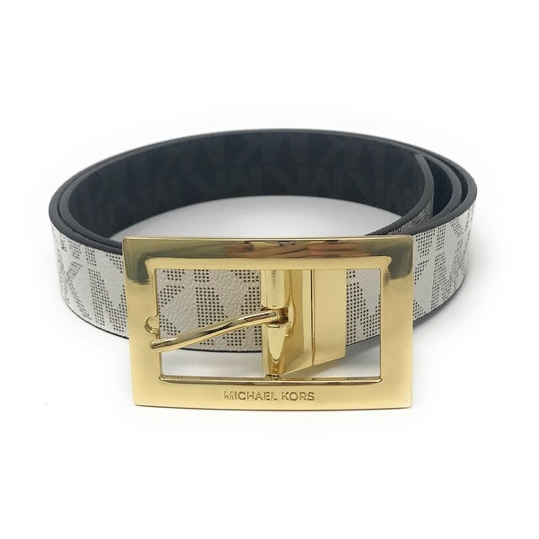 Michael Kors Women's Rectangle Buckle Reversible MK Logo Belt, Vanilla To Black 551814C