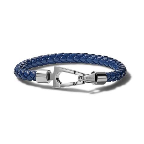 Bulova Mens Marine Star Leather Bracelet - J96B025M - Blue