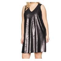 Rachel Rachel Roy Black Womens Size 2X Plus Sequin Shift Dress