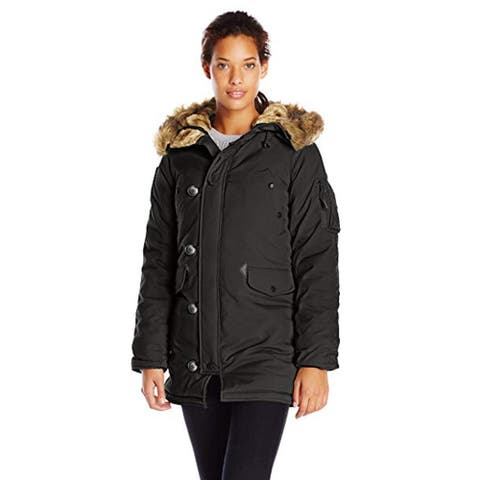 Alpha Industries Women's Altitude Slim Fit Oxford Nylon Parka, Black, Small