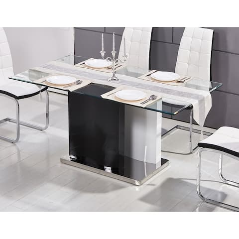 Best Master Furniture White High Gloss Rectangular Glass Dining Table
