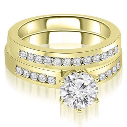 1.05 cttw. 14K Yellow Gold Channel Set Round Cut Diamond Bridal Set