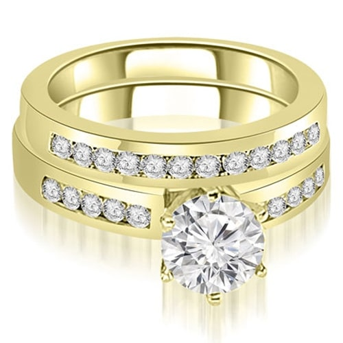 1.55 cttw. 14K Yellow Gold Channel Set Round Cut Diamond Bridal Set