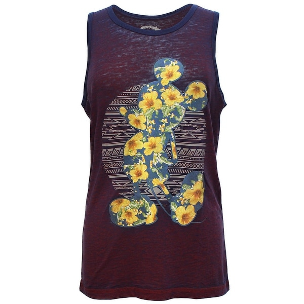 58f810c2c89cf7 Shop Disney Men s Mickey Mouse Floral Tank Top Maroon - Free Shipping On  Orders Over  45 - Overstock - 16916266