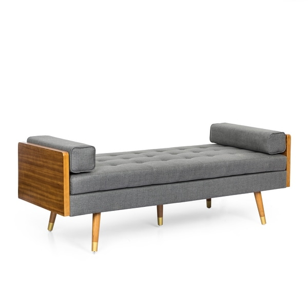 Keairns Mid-Century Modern Tufted Double End Chaise Lounge with Bolster Pillows by Christopher Knight Home. Opens flyout.
