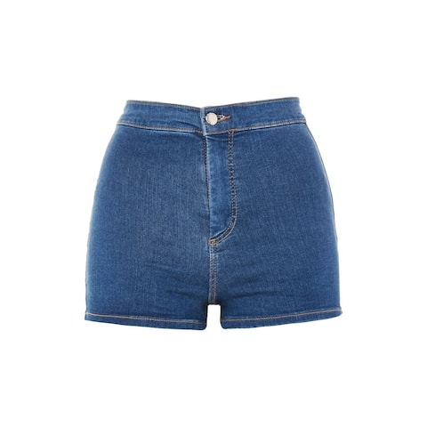 Topshop Blue Women's Size 12 High-Waist Stretch Denim Shorts