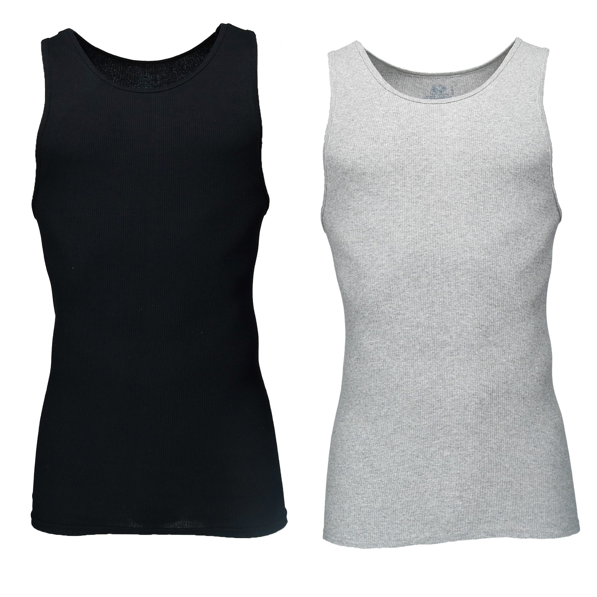 Fruit of the Loom Men/'s 3Pack Black /& Grey A Shirts Tank Tops Undershirts M