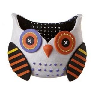 "10"" Whimsical White Owl Wall Pocket Halloween Decoration - Orange"