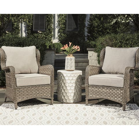 Clear Ridge Light Brown Lounge Chair with Cushion Set of 2