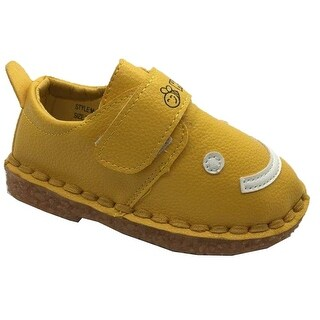 Little Girls Boys Yellow White Smiley Face Strap Sneakers 5-10 Toddler