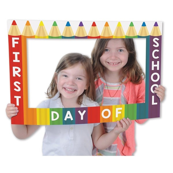 """Club Pack of 12 First Day of School Digital Photo Fun Frame with Handheld Props 23.5"""" - N/A"""