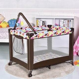 Costway Playard Baby Bassinet Travel Portable Bed Playpen Toddler Foldable