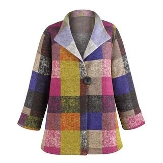 Women's Colorblock Fleece Fashion Jacket - Single Button - 3/4 Sleeves