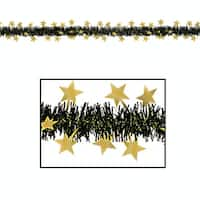Club Pack of 12 Black and Gold Star Metallic Tinsel New Year Party Garlands 12' - Unlit