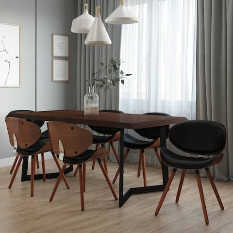 """WYNDENHALL Avondale Mid Century Modern Dining Chair in Black Faux Leather - 20.75""""w x 19.5""""d x 29.5""""h"""