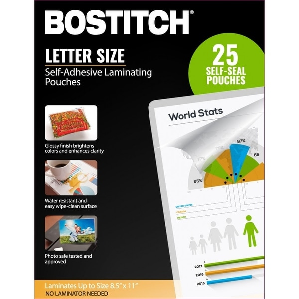 """Bostitch Self-Adhesive Laminating Pouches, 8.5"""" x 11"""", 25-Pack"""