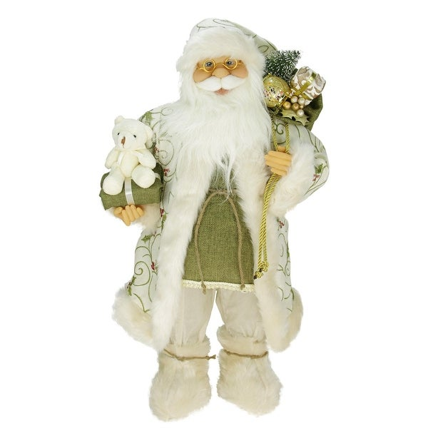 """24"""" Graceful Standing Santa Claus Christmas Figure in Ivory with Teddy Bear - green"""