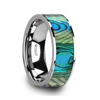 Thorsten Tungsten Men's Flat Wedding Band with Mother Of Pearl Inlay & Polished Finish - 8mm LAURANT