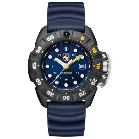 Luminox Men's XS.1553 Scott Cassell Deep Dive 45 mm Black Case Blue Rubber Strap Watch
