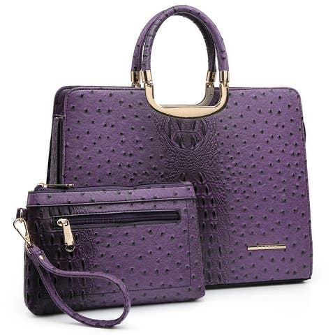 Dasein Ostrich embossed Briefcase with Accessory pouch