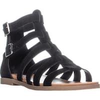 Steve Madden Diver Gladiator Zip Up Flat Sandals, Black