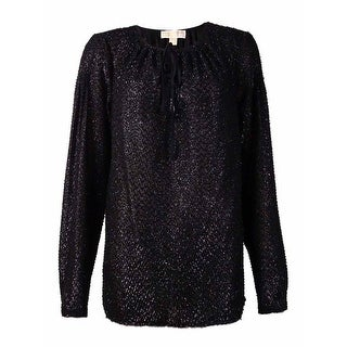 MICHAEL Michael Kors Women's Shimmer Peasant Top (M, Black)