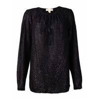 MICHAEL Michael Kors Women's Shimmer Peasant Top (M, Black) - Black - m