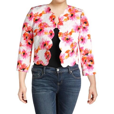 Kasper Womens Crop Blazer Floral Scalloped Hem