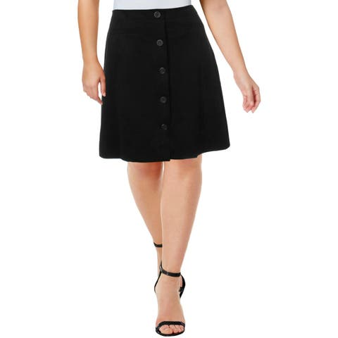 Karl Lagerfeld Womens A-Line Skirt Suede Button Up