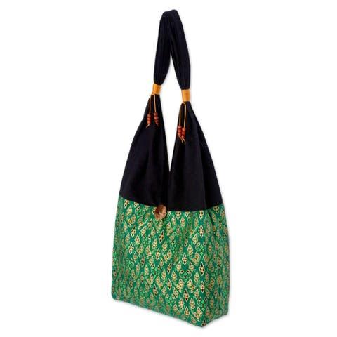 NOVICA Handmade Cotton 'Thai Emerald' Sling Tote Bag (Thailand)