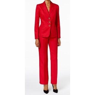 Le Suit NEW Red Herringbone 3-Button Women's Size 4 Pant Suit Set