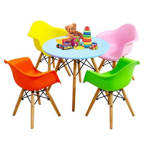 1aa67753933c Gymax 5 PC Kids Modern Colorful Round Table Chair Set with 4 Arm Chairs -  blue