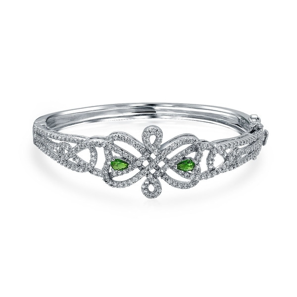 f33bf143e9d Shop Bridal Celtic Love Knot Bangle Bracelet For Women White Pave Green CZ  Rhodium Plated Safety Clasp 7 Inch - On Sale - Free Shipping On Orders Over  $45 ...