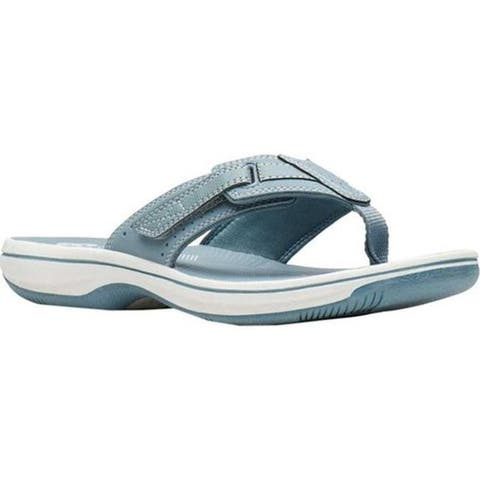 d6c5ef13de7 Clarks Women s Brinkley Reef Flip Flop Blue Grey Synthetic