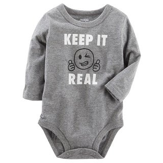 OshKosh B'gosh Baby Boys' Keep It Real Be You Bodysuit, Gray, 24 Months - gray